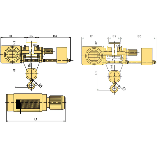 Таль электрическая (тельфер) серия МРМ, полиспаст 2/1 г/п 2,0т (УСВ)